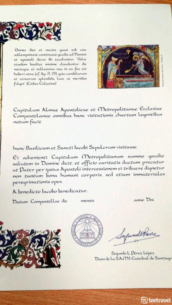 Certificados del Peregrino: Certificado de bienvenida
