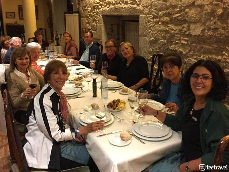 Camino de Portugués en grupo organziado- Cena de grupo