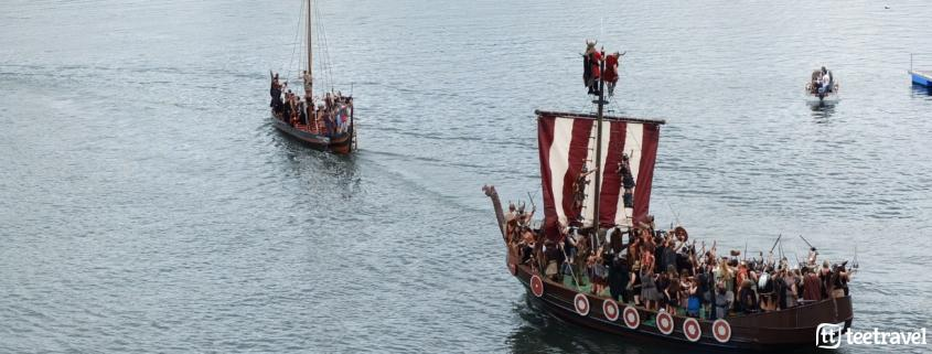 Fiestas en Galicia en agosto: desembarco en la Romería Vikinga, Catoira.