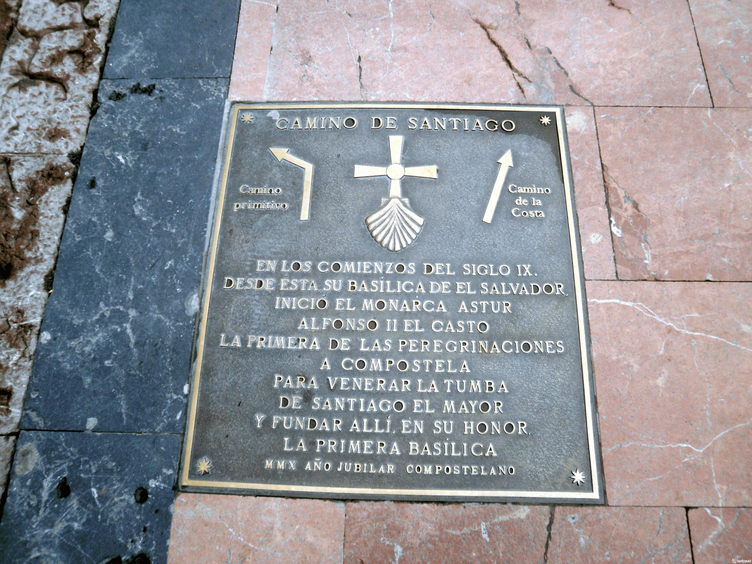 Caminos del Norte: Patrimonio de la Humanidad, placa conmemorativa a Alfonso II El Casto