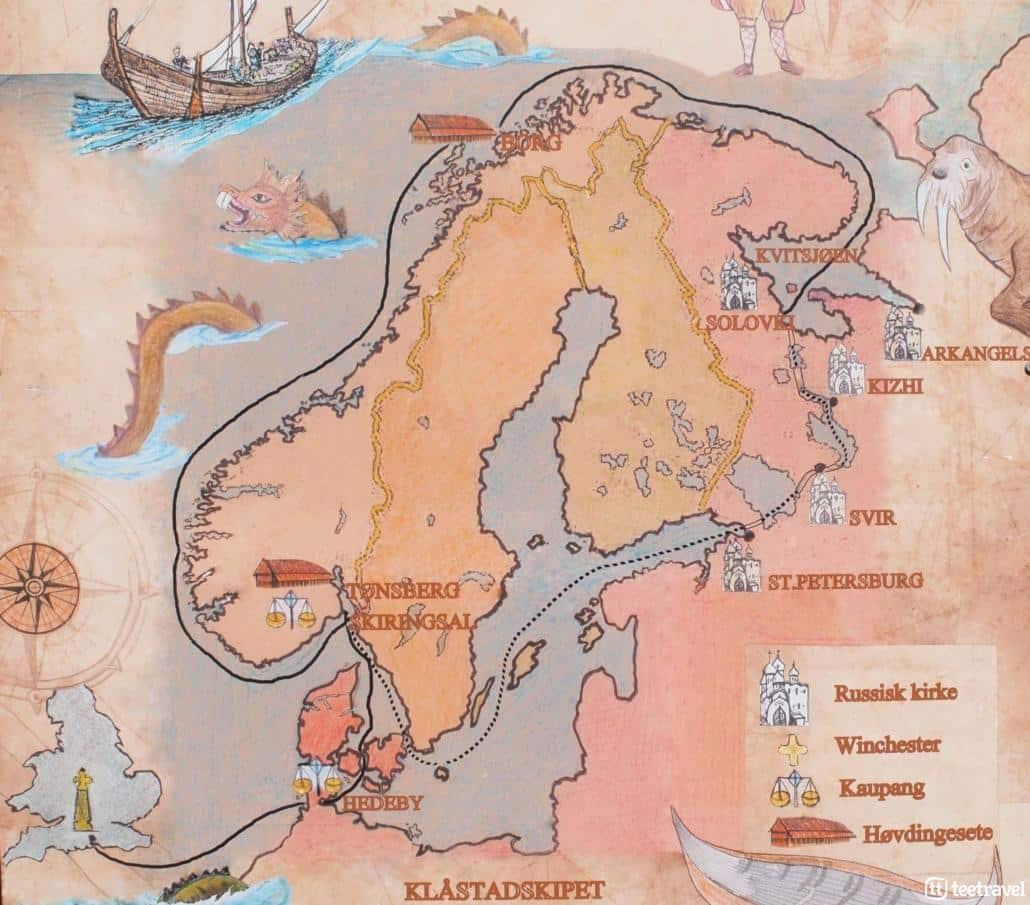 Viaje en bicicleta por los puertos del Fiordo de Oslo - mapa Fiordos escandinavos