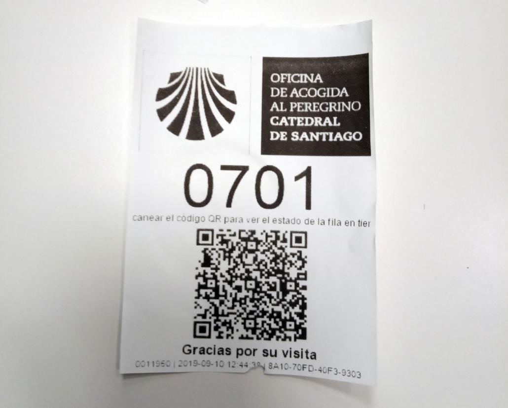 Ticket de espera oficina del peregrino