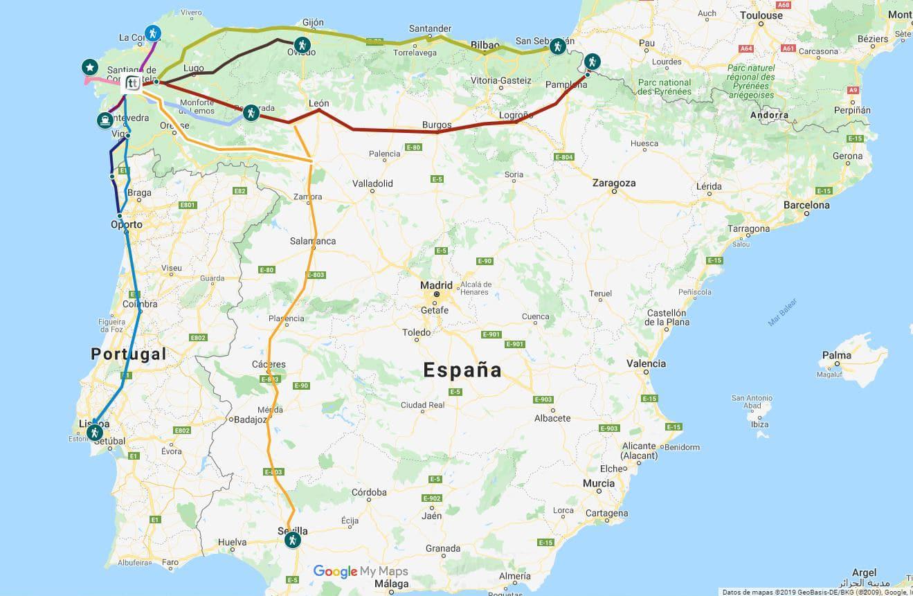 Rutas oficiales del Camino de Santiago