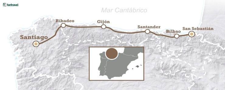 Mapa del Camino del Norte o Camino de la Costa