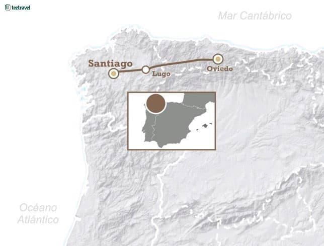 Mapa del Camino Primitivo o Camino Original