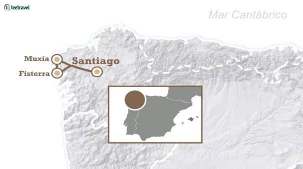 Mapa del Camino de Santiago de Fisterra y Muxía