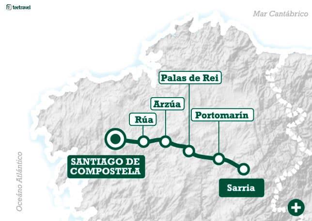 Mapa Camino Francés - Últimos 100 km desde Sarria