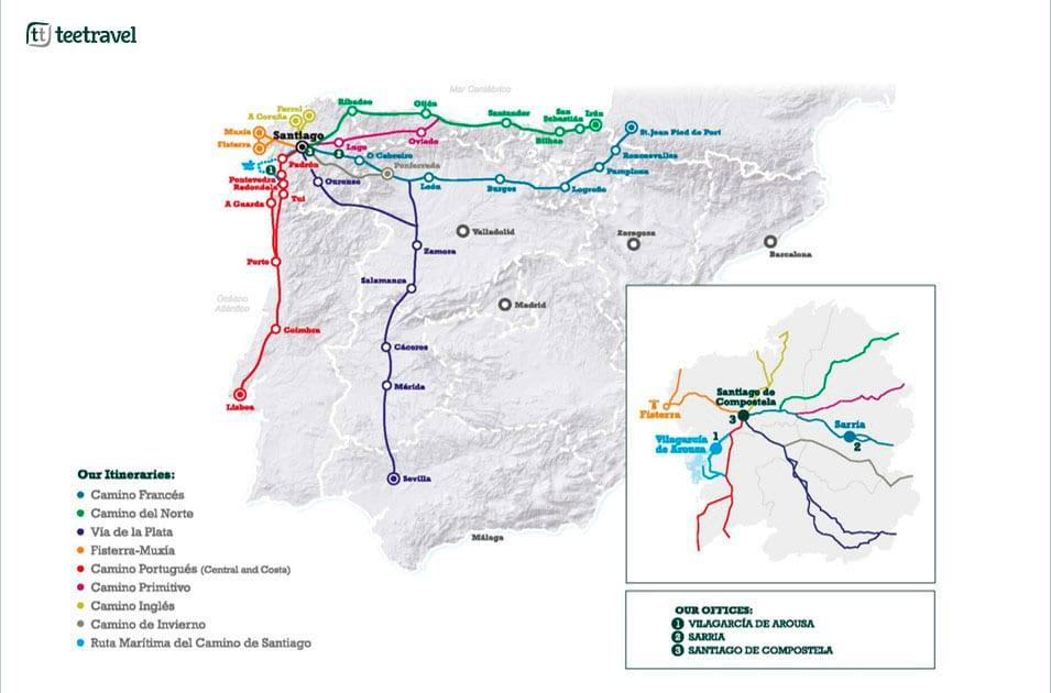 Caminos de Santiago de Compostela - Rutas Jacobeas - Oficinas Tee Travel