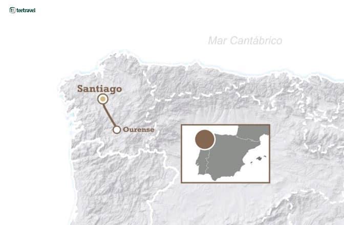 Mapa de la Vía de la Plata desde Ourense
