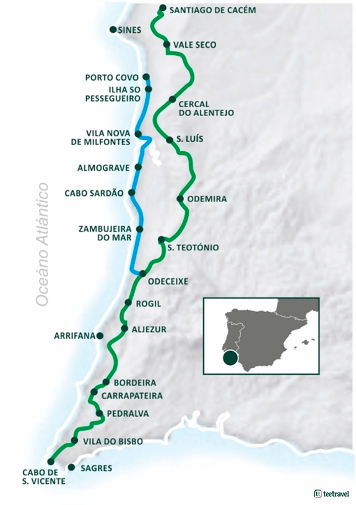 Rota Vicentina - Mapa de las Rutas: Trilho Pescadores y Caminho Histórico