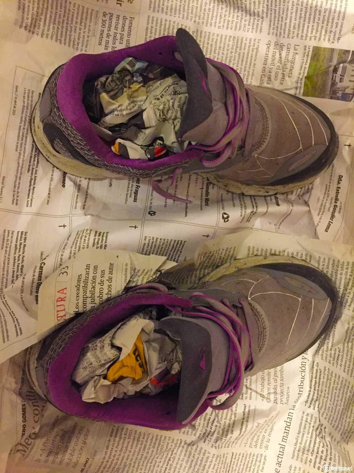 Trucos para secar el calzado en el Camino de Santiago