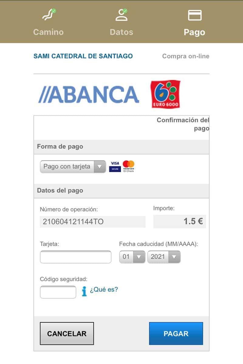 Pago con tarjeta de Crédito - Credencial Digital del Peregrino