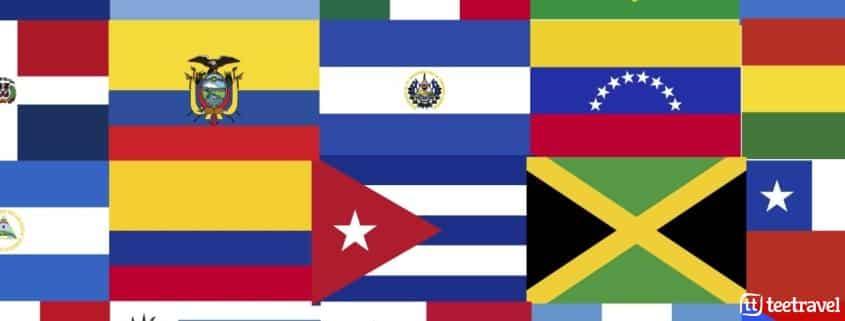 Banderas de diferentes países de Latinoamérica