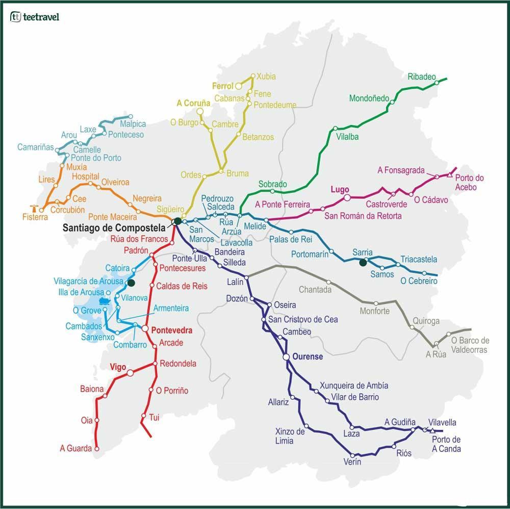 Mapa de los Caminos de Santiago en Galicia